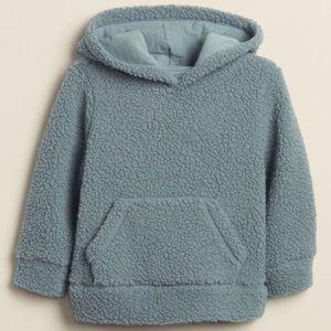 GAP FACTORY steel blue sherpa hoodie 3-6 mo NWOT